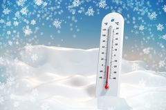 Thermometer in the frost in a snowdrift. Wallpaper. 3d illustration Stock Photos
