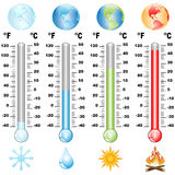 Thermometer and global warming. Illustration of a thermometer scale of global warming the earth Royalty Free Stock Image