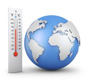 Thermometer and globe Royalty Free Stock Image