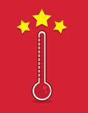 Thermometer Goal Met. Red thermometer filled up with goal met Stock Images