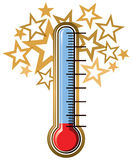 Thermometer Goal. A temperature thermometer with stars on top. A goal marker