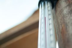 Thermometer in the greenhouse royalty free stock photo