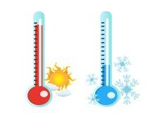 Thermometer in hete en koude temperatuur royalty-vrije illustratie