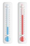 Thermometer. Hete en koude temperatuur. Vector. Royalty-vrije Stock Fotografie
