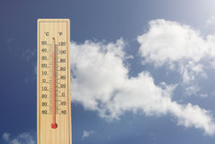 Thermometer high temperatures Royalty Free Stock Image