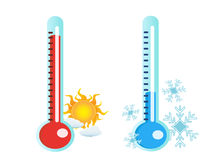 Thermometer in hot and cold temperature. Isolated two thermometer in hot and cold temperature Royalty Free Stock Image