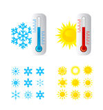 Thermometer Hot And Cold Temperature. Also Sun and snowflakes icons set Royalty Free Stock Photos