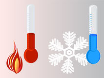 Thermometer hot vs cold Stock Image