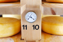Thermometer and Hygrometer in a cheese cellar Stock Image