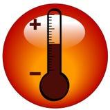 Thermometer icon or button. Round thermometer icon or button - illustration Stock Photos