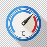 Thermometer icon in flat style on transparent background. Thermometer icon in flat style with long shadow on transparent background stock illustration