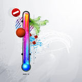 Thermometer icon of hot and cold indicator. EPS10,. And transparency. Season, winter summer. Arial text in the curves Royalty Free Stock Image