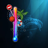 Thermometer icon of hot and cold indicator. EPS10,. And transparency. Season, winter summer. Arial text in the curves Royalty Free Stock Photos