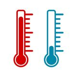 Thermometer icon hot and cold. Vector icon Stock Photo