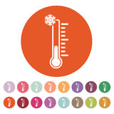 The thermometer icon. Low temperature symbol Stock Photos