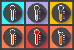 Thermometer icon set, High temperature symbol vector. Flat designed style. Royalty Free Stock Photos