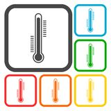 Thermometer icons set Royalty Free Stock Images