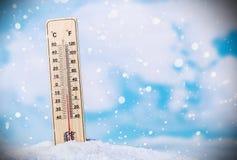 Thermometer im Schnee Stockfotografie