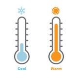 Thermometer, kühlen ab und Warm-Vektor-Illustration Lizenzfreies Stockbild