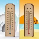 Thermometer kalt und heiß lizenzfreie abbildung