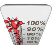 Thermometer Measure Success Level Rate 100 Percent Total Complet. Thermometer or gauge measuring success level with 100 percent completion for total goal reached Stock Photo