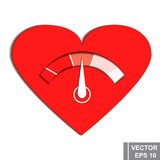 Thermometer. Measurement of love. Valentine`s Day. Isolated on white background. Stock Images