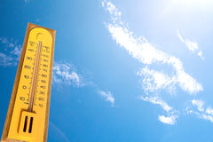 The thermometer measurement temperature on season,more than 40 d Stock Photos