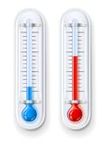 Thermometer measuring hot and cold temperature Royalty Free Stock Image
