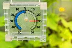 Thermometer for measuring the temperature of the air in the greenhouse, sunlight and rays.  stock photo