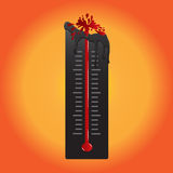 Thermometer Melt Because Hot Air. Vector Illustration. Thermometer Melt Because Hot Air, Vector Illustration Royalty Free Stock Image