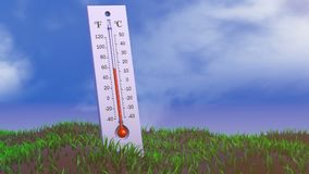 The thermometer on melting snow vector illustration