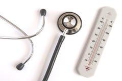 Thermometer met stethoscoop Stock Afbeelding