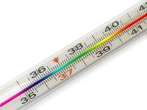 Thermometer mit Regenbogen Skala Stockfotos