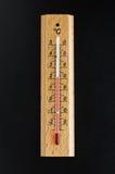 Thermometer op de zwarte achtergrond Stock Fotografie
