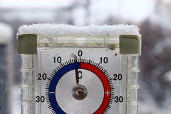 Thermometer outdoors Stock Photo