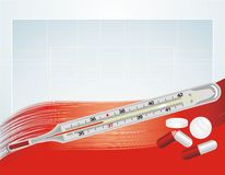 Thermometer and pills on the abstract background Royalty Free Stock Photography