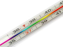 Thermometer with rainbow Scale. Isolated Stock Photos