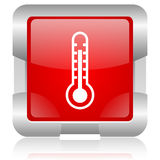 Thermometer red square web glossy icon Stock Photography