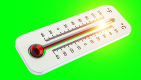 Thermometer with red temperature rise 3D rendering Royalty Free Stock Image