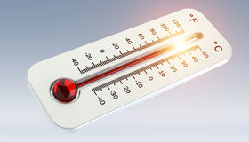 Thermometer with red temperature rise 3D rendering Stock Photos