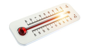Thermometer with red temperature rise 3D rendering Stock Image