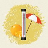 Thermometer by seasons. Summer Stock Photo