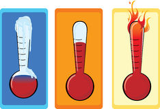 Thermometer set. Set of three thermometers depicting cold warm and hot Royalty Free Stock Photography