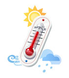Thermometer show temperature and weather icons Royalty Free Stock Images