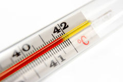 Thermometer showing 42 degrees Stock Photo