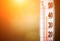 Thermometer showing for high temperature. Heat wave and thermometer showing for high temperature stock photography
