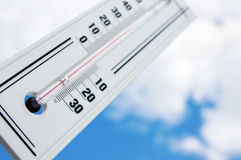 The thermometer shows high temperature Royalty Free Stock Photo