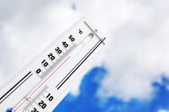 The thermometer shows high temperature Stock Image