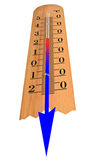 Thermometer shows temperature decrease. Isolated on a white background Royalty Free Stock Photos