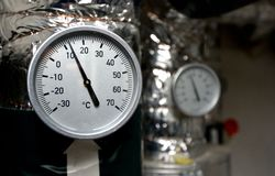 Thermometer on silver Tubes Stock Image